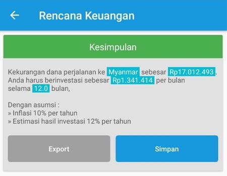 Rencana Keuangan Dana Liburan Aplikasi Finansialku 3