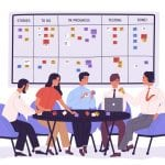 Group of people or office workers sitting around table and discussing work issues against SCRUM task board with sticky notes. Team working under project. Vector illustration in flat cartoon style.