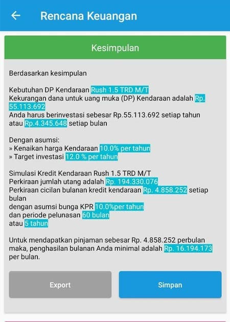 Rencana Keuangan Dana Membeli Kendaraan Aplikasi Finansialku 3