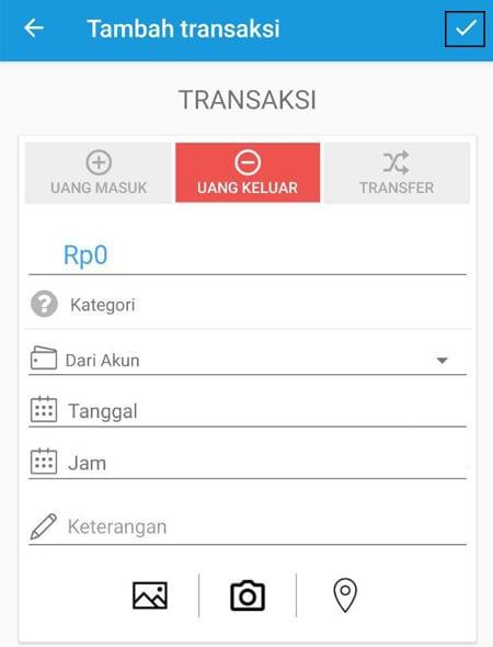 Transaksi Catat Keuangan Uang Keluar Aplikasi Finansialku
