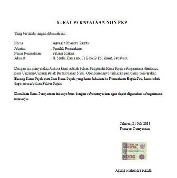 Kenali Surat Pernyataan Non PKP Beserta Cara Mengajukannya 02 - Finansialku