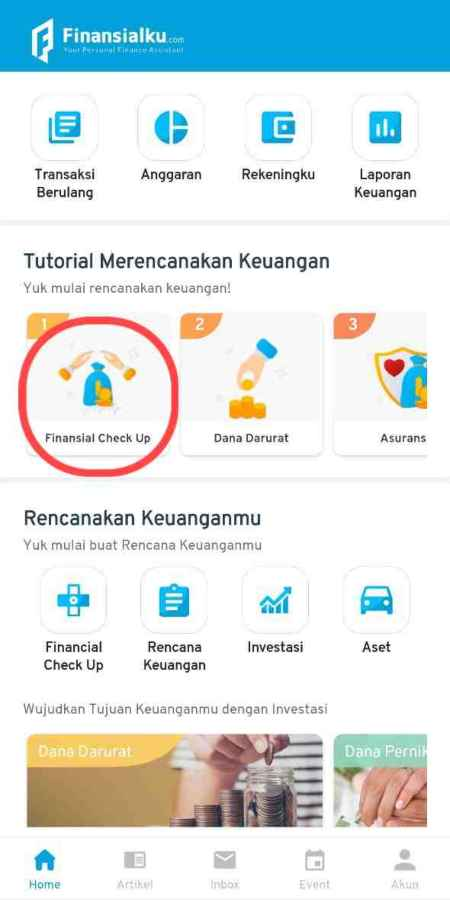 Fitur Financial Health Check Up Aplikasi Finansialku