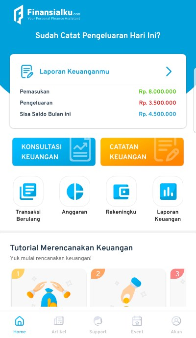 Interface Aplikasi Finansialku 1