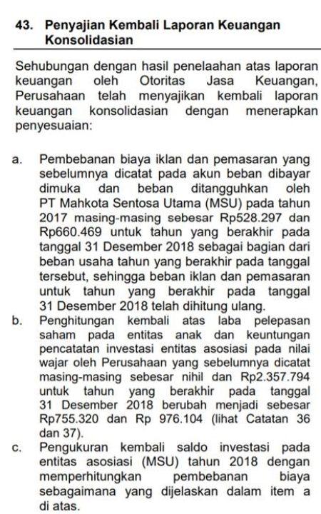 Source: Catatan Kaki 43 Restatement FS Lippo Cikarang 2018