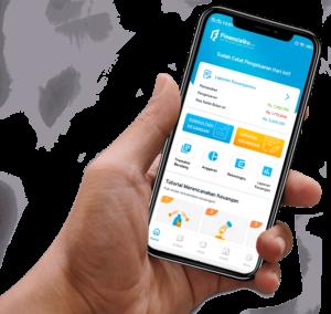 Mockup Aplikasi Finansialku With Hand