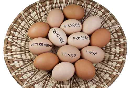 Concept of investment with eggs in the same basket.