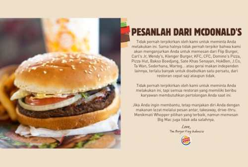 Viral! Burger King Minta Pelanggannya Beli Makanan Pesaingnya! 02