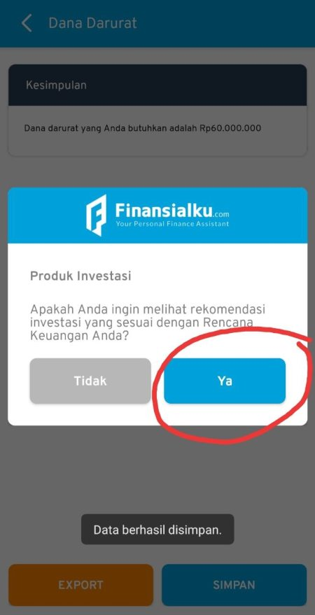 Hasil Dana darurat investasi aplikasi Finansialku