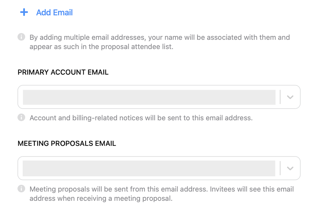 Choose which email meeting proposals will use.
