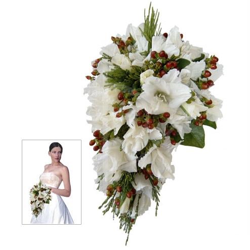 caida de gladiolos blancos - ramo de novia