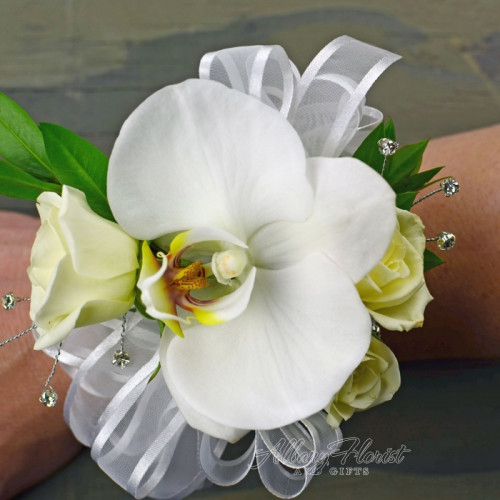 Wrist corsage with orchid and rose