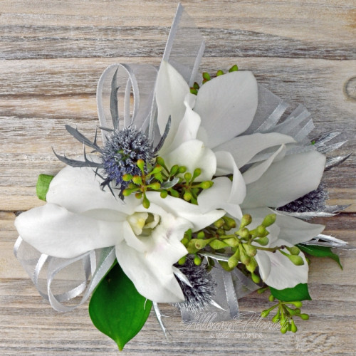 All white orchid wrist corsage