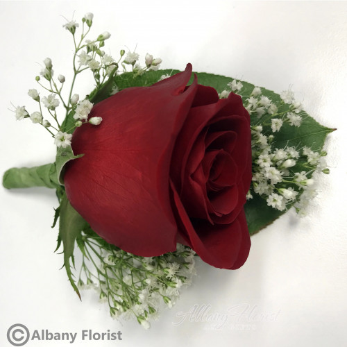 A classic red rose boutonniere - 123