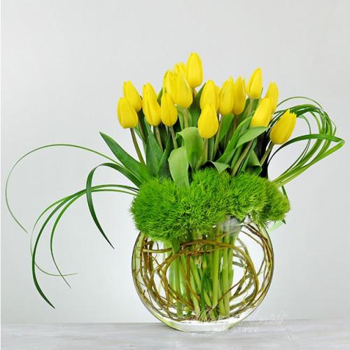 Sunny yellow tulips.