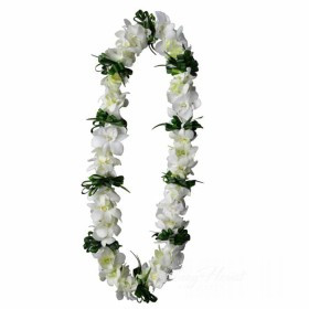Green Leaves And White Orchid Lei