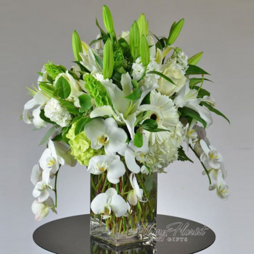 Beautiful Rustic Green and White Flower Arrangement