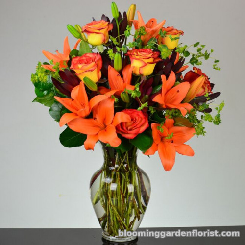 Fiery orange Lilies and Roses V59