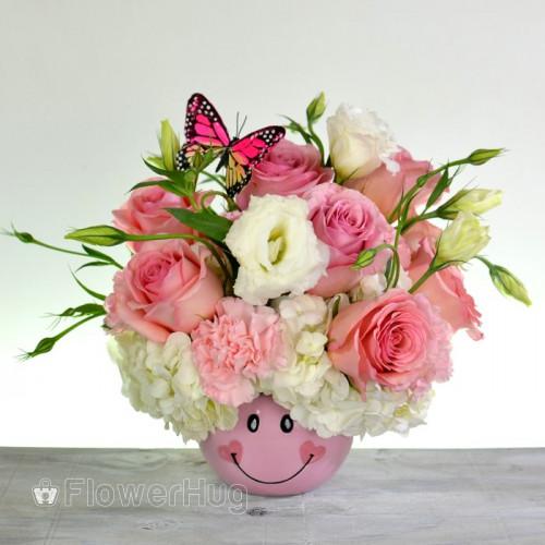 Smiley Baby Girl Flower Arrangement - B31