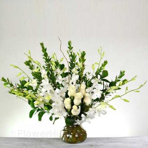 I Love White Orchids and Roses V292