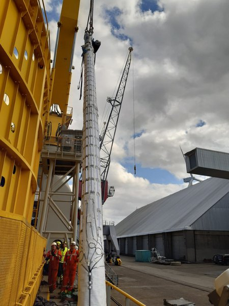 fiber installation at Isaac Newton cable laying vessel