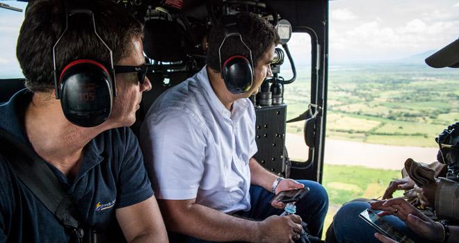 El gerente del Fondo Adaptación, Iván Mustafá Durán, sobrevoló este viernes la región de La Mojana, acompañado de los gobernadores de Bolívar, Dumeq Turbay, y de Sucre, Edgar Martínez Romero
