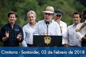 """Presidente Juan Manuel Santos entrega puente """"El Dieciocho"""" en Santander"""