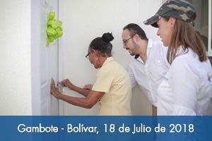 Avanza reubicación de familias que habitaban en zonas de riesgo en Gambote (Bolívar)