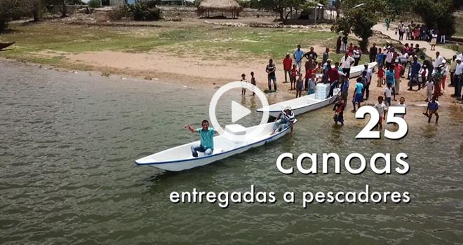 Pescadores de la Mojana sucreña recibieron canoas nuevas por parte del Fondo Adaptación
