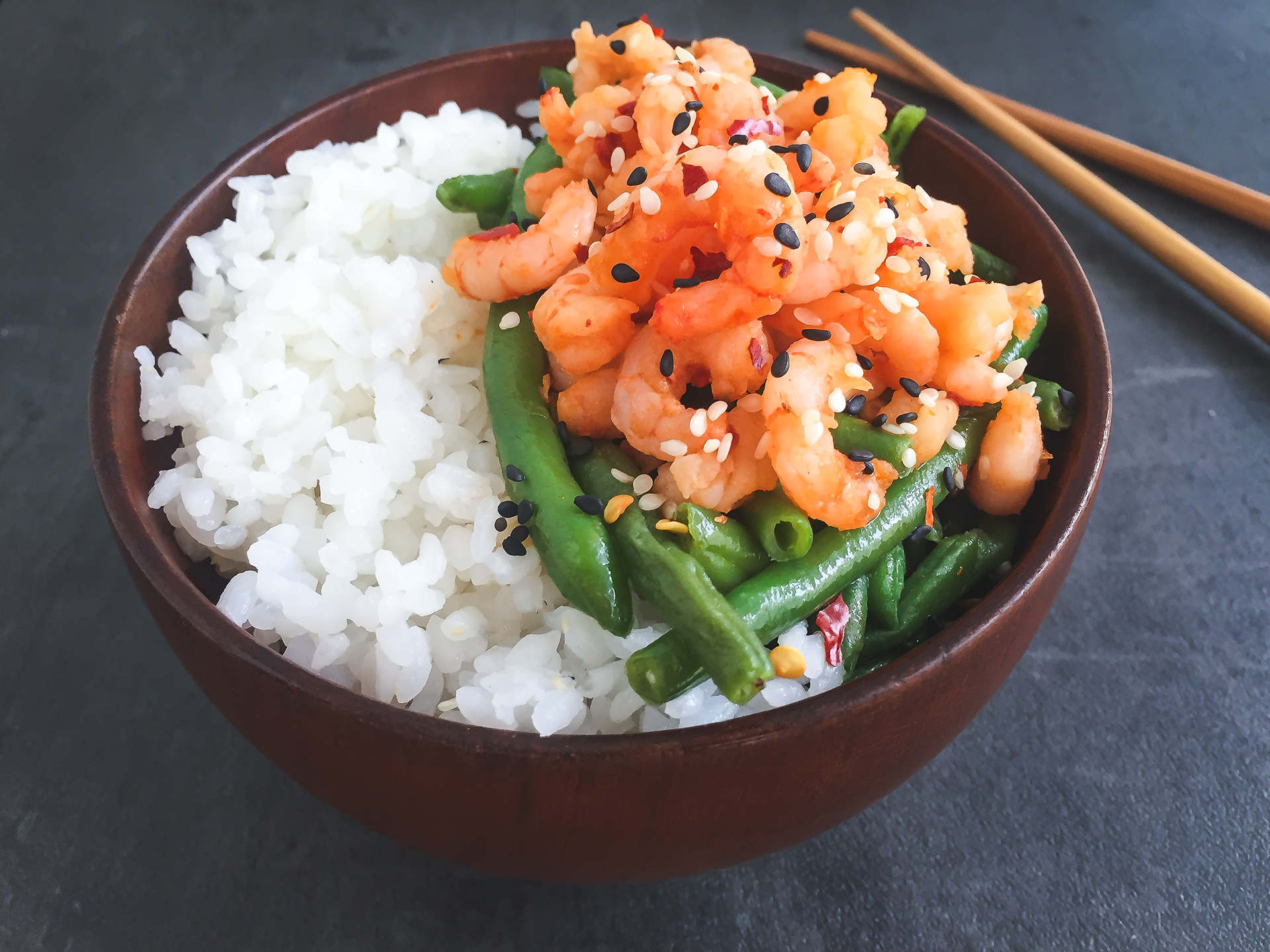 Sushi Rice Bowl with Honey Chilli Prawns and Ginger Garlic Green Beans Preview