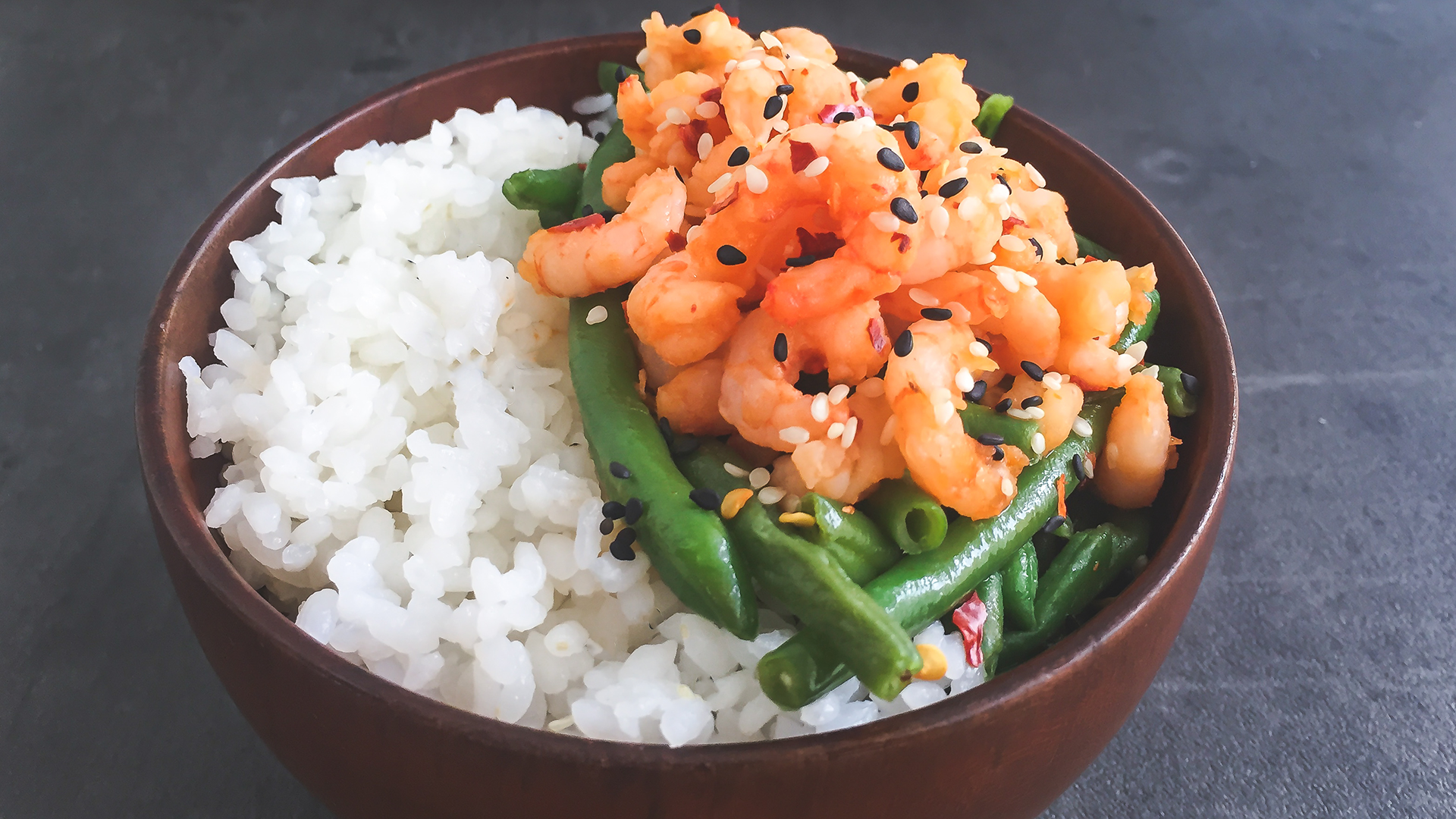 Sushi Rice Bowl with Honey Chilli Prawns and Ginger Garlic Green Beans Thumbnail