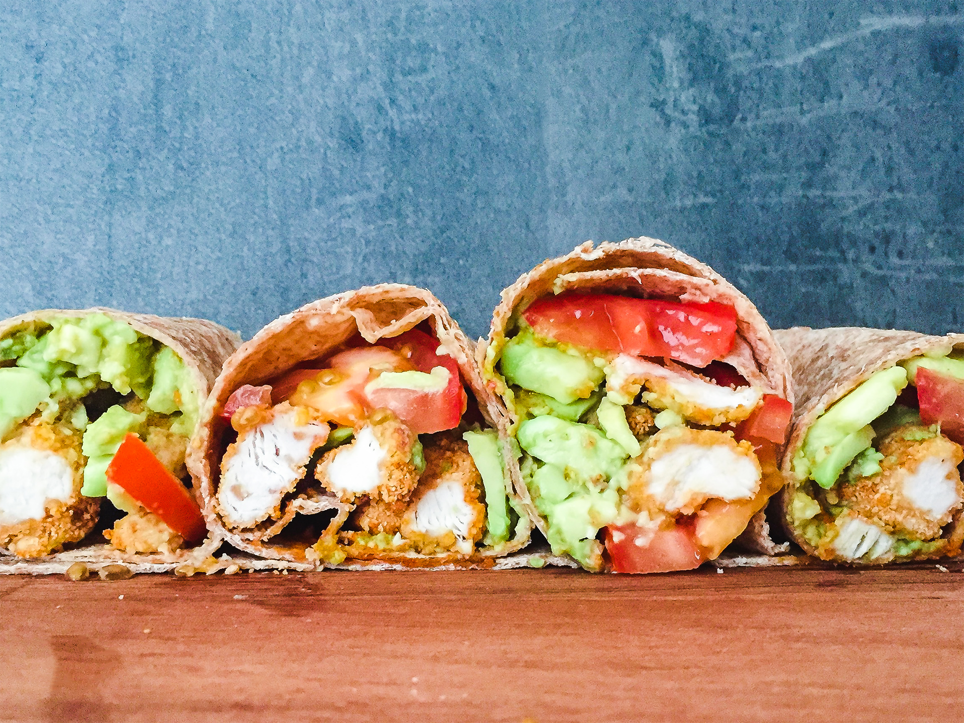High Protein Wholemeal Wrap with Tomato, Avocado and Oven Baked Crispy Chicken Preview