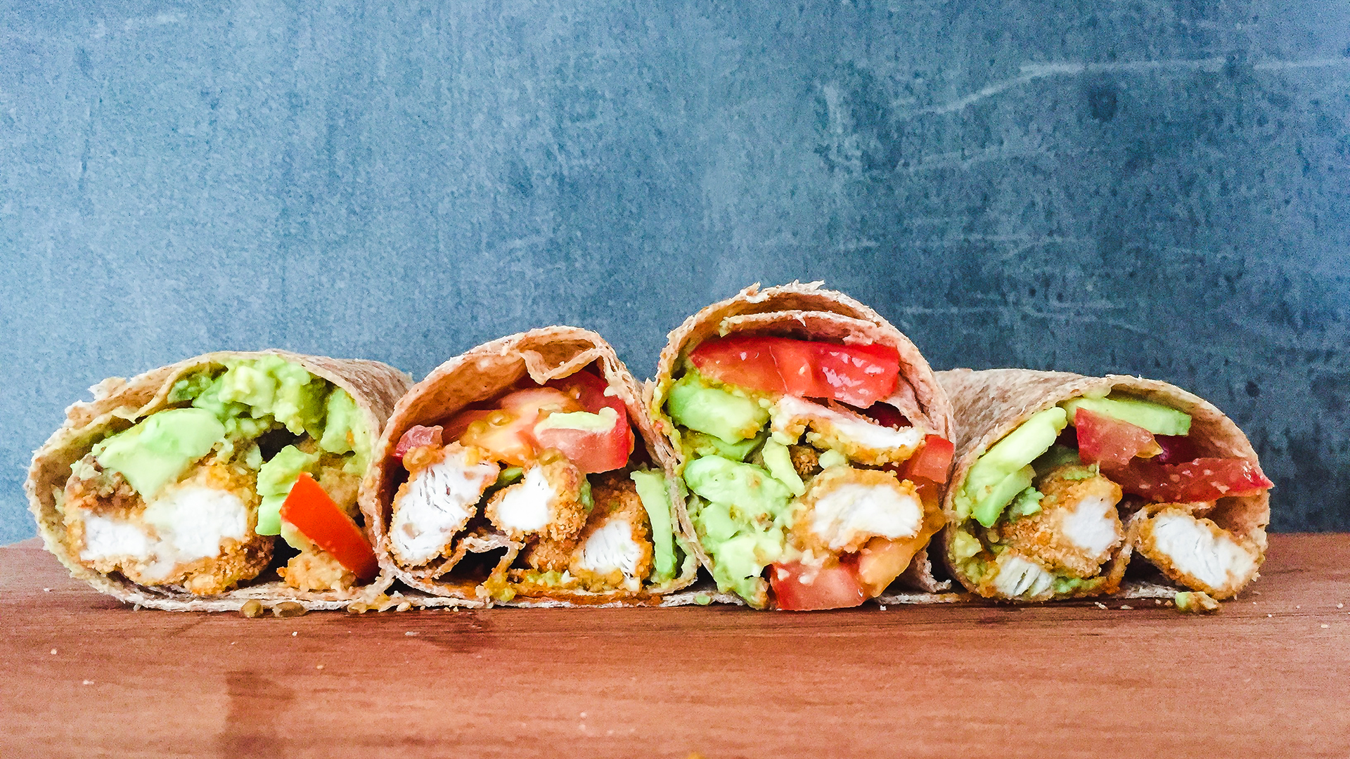 High Protein Wholemeal Wrap with Tomato, Avocado and Oven Baked Crispy Chicken Thumbnail
