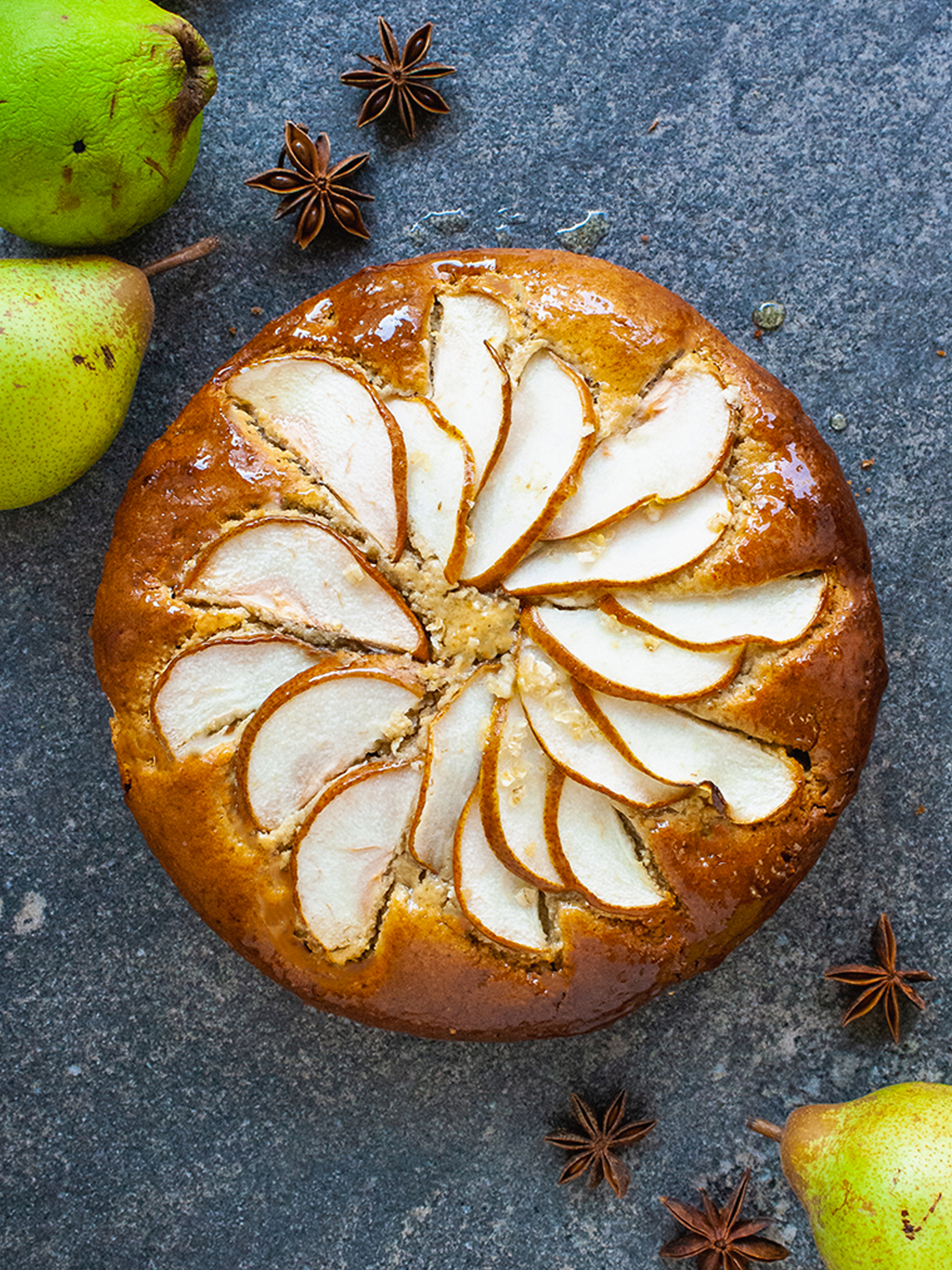 Gluten Free Honey Glazed Lemon and Almond Pear Cake Without Butter Thumbnail