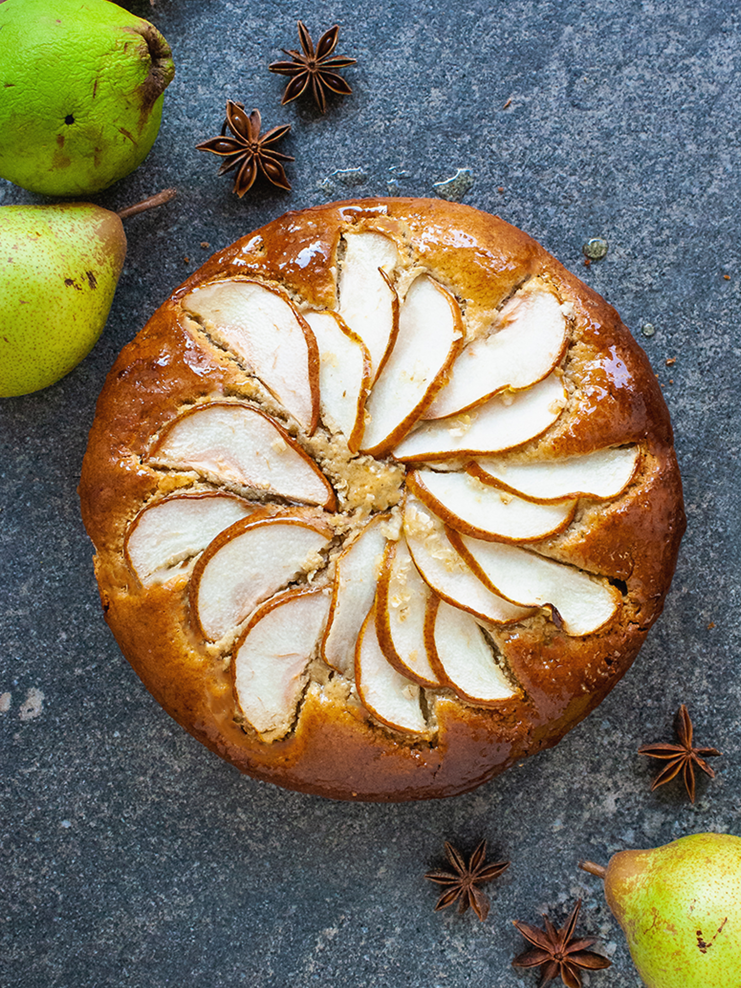 Gluten Free Honey Glazed Lemon and Almond Pear Cake Without Butter Preview