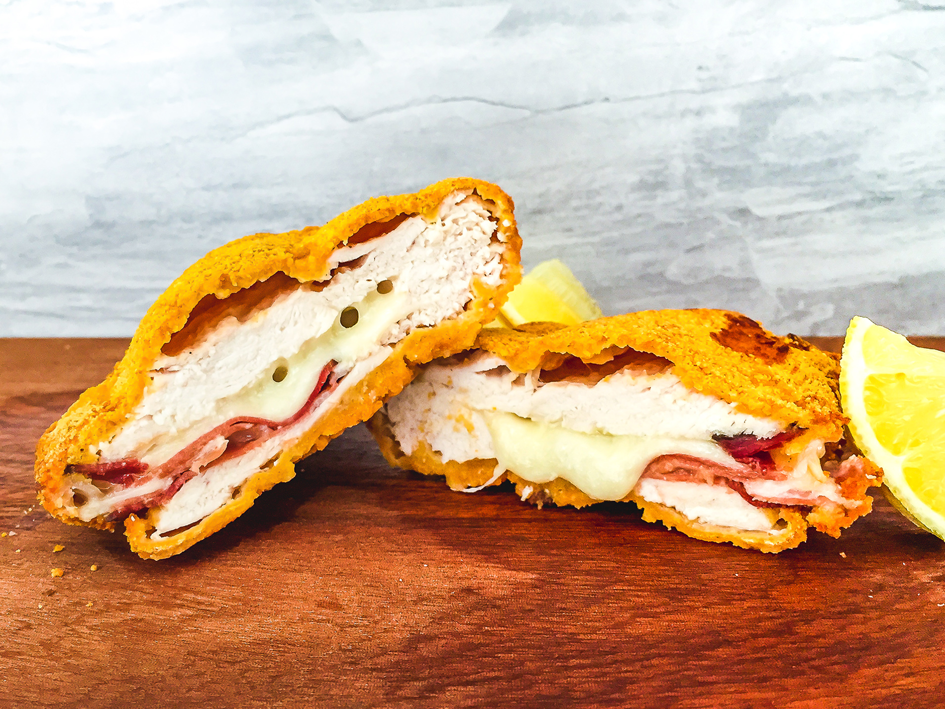 High protein breaded chicken with ham and cheese filling Preview