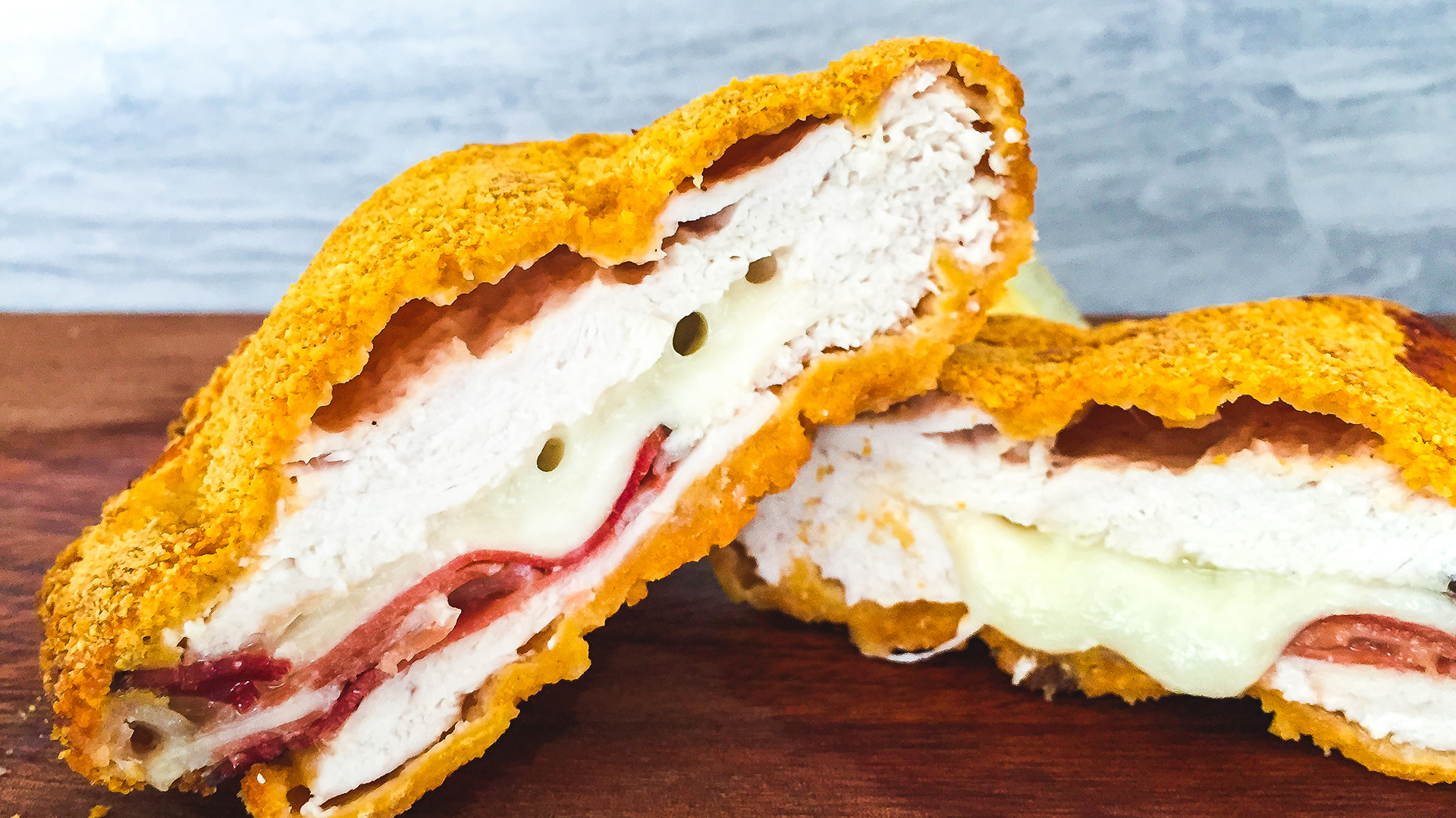 High protein breaded chicken with ham and cheese filling Thumbnail