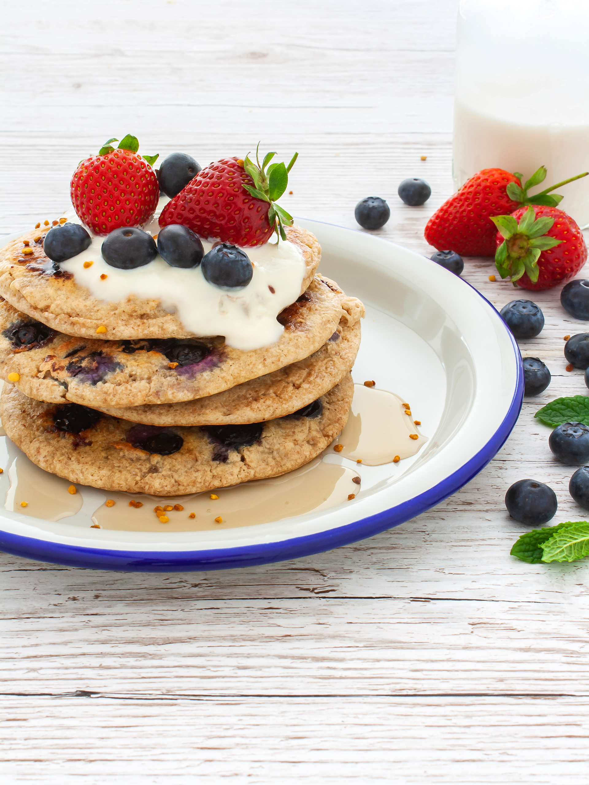 Gluten Free Buckwheat and Oatmeal Blueberry Pancakes Preview