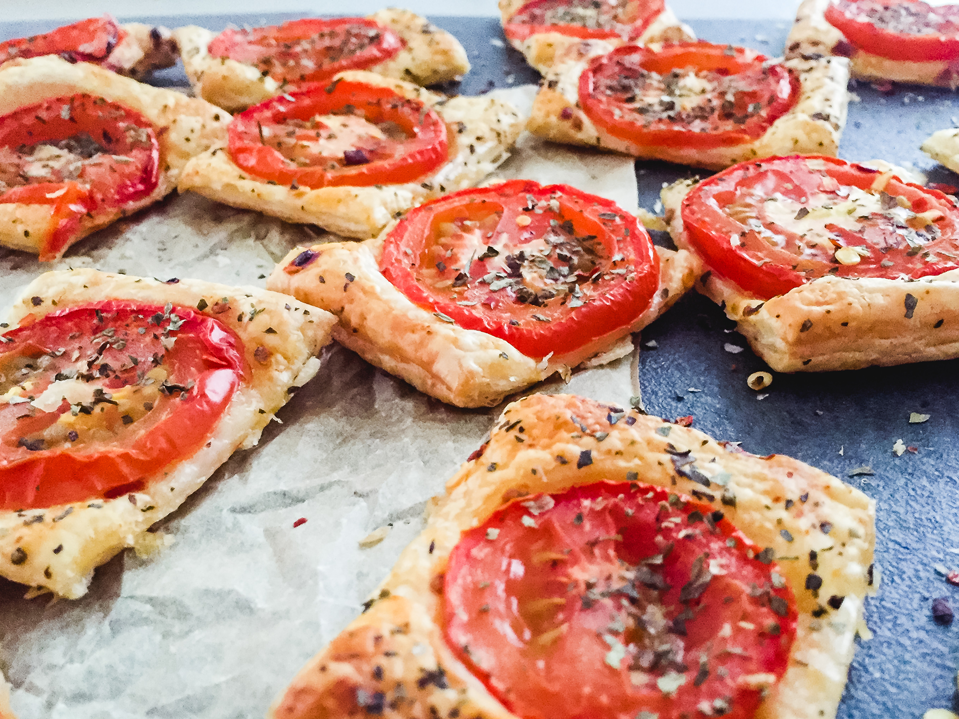 Party Pastry Snacks with Herbs and Tomatoes Preview