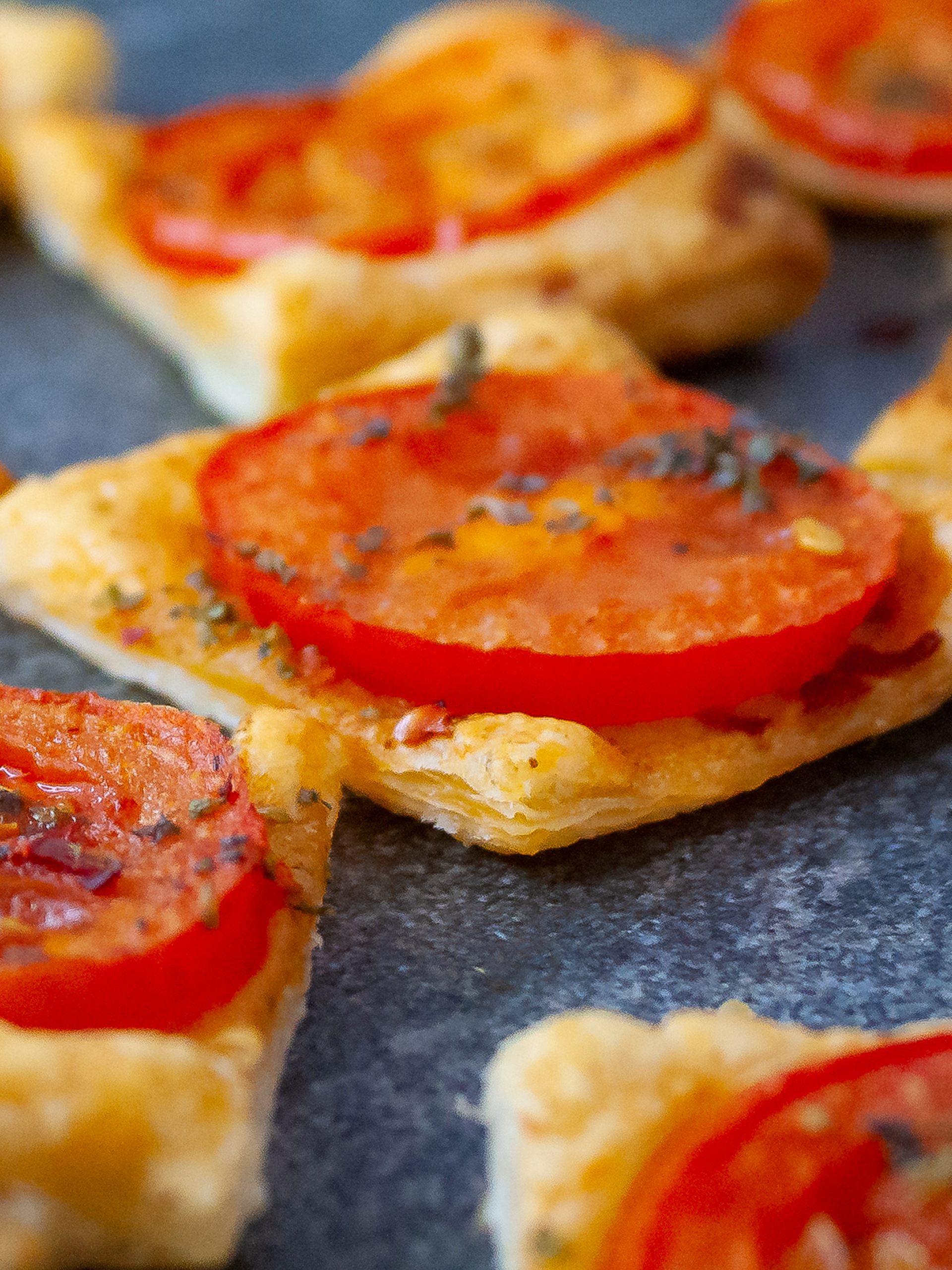 Vegan Pastry Party Snacks with Tomatoes Recipe Thumbnail
