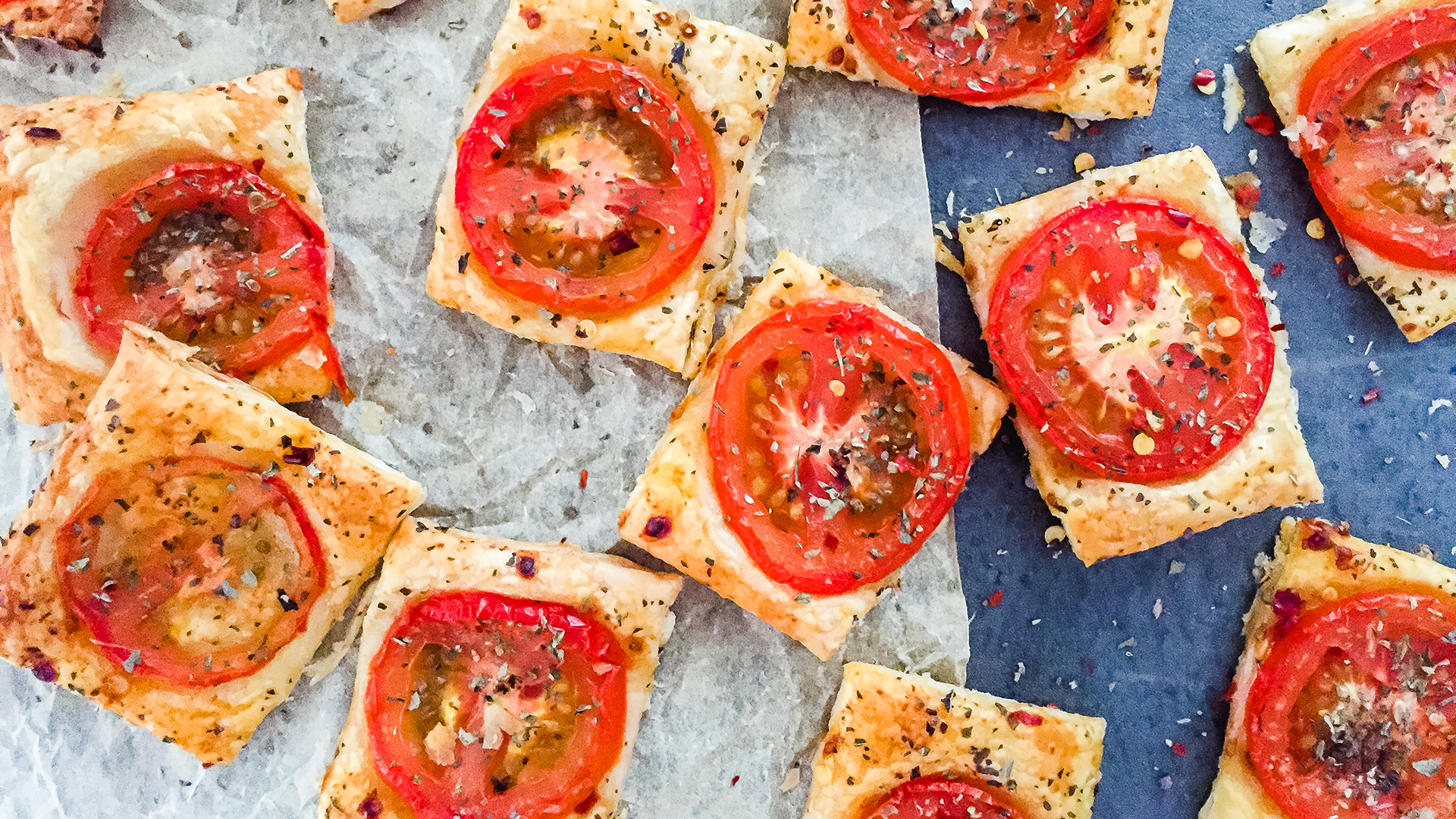 Party Pastry Snacks with Herbs and Tomatoes Thumbnail
