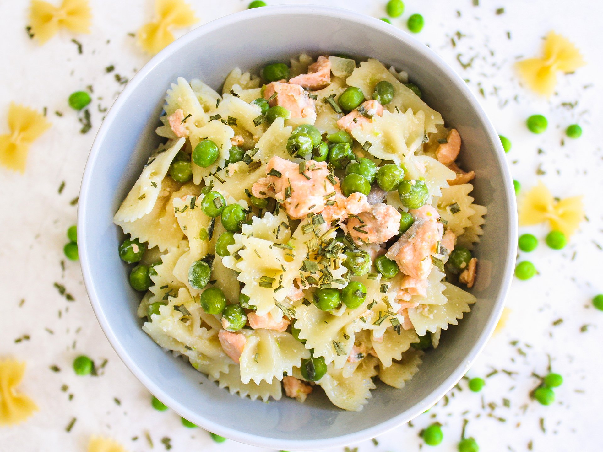 Pasta with Salmon Peas and Chives