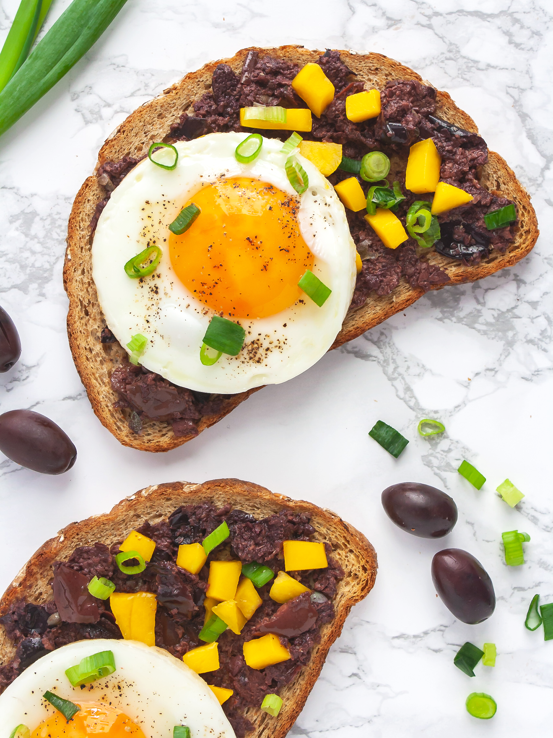 Breakfast Egg Toast with Mango and Olive Spread Thumbnail
