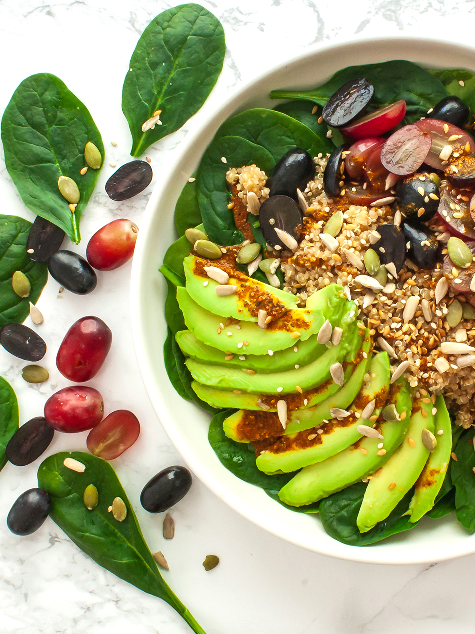 Quinoa Avocado Spinach Salad with Grapes