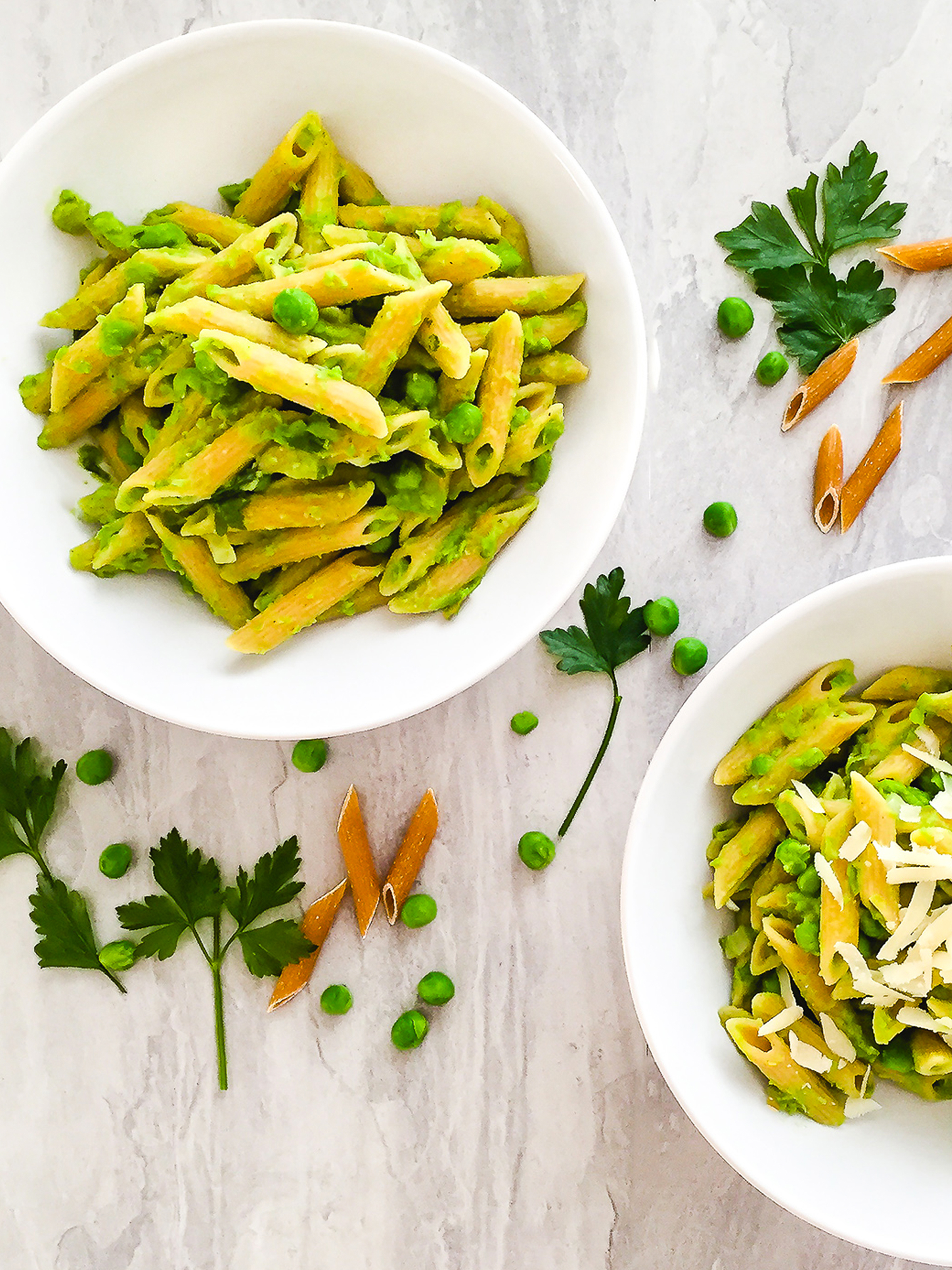 Vegan High Fibre Pasta with Creamy Peas and Nutmeg Thumbnail