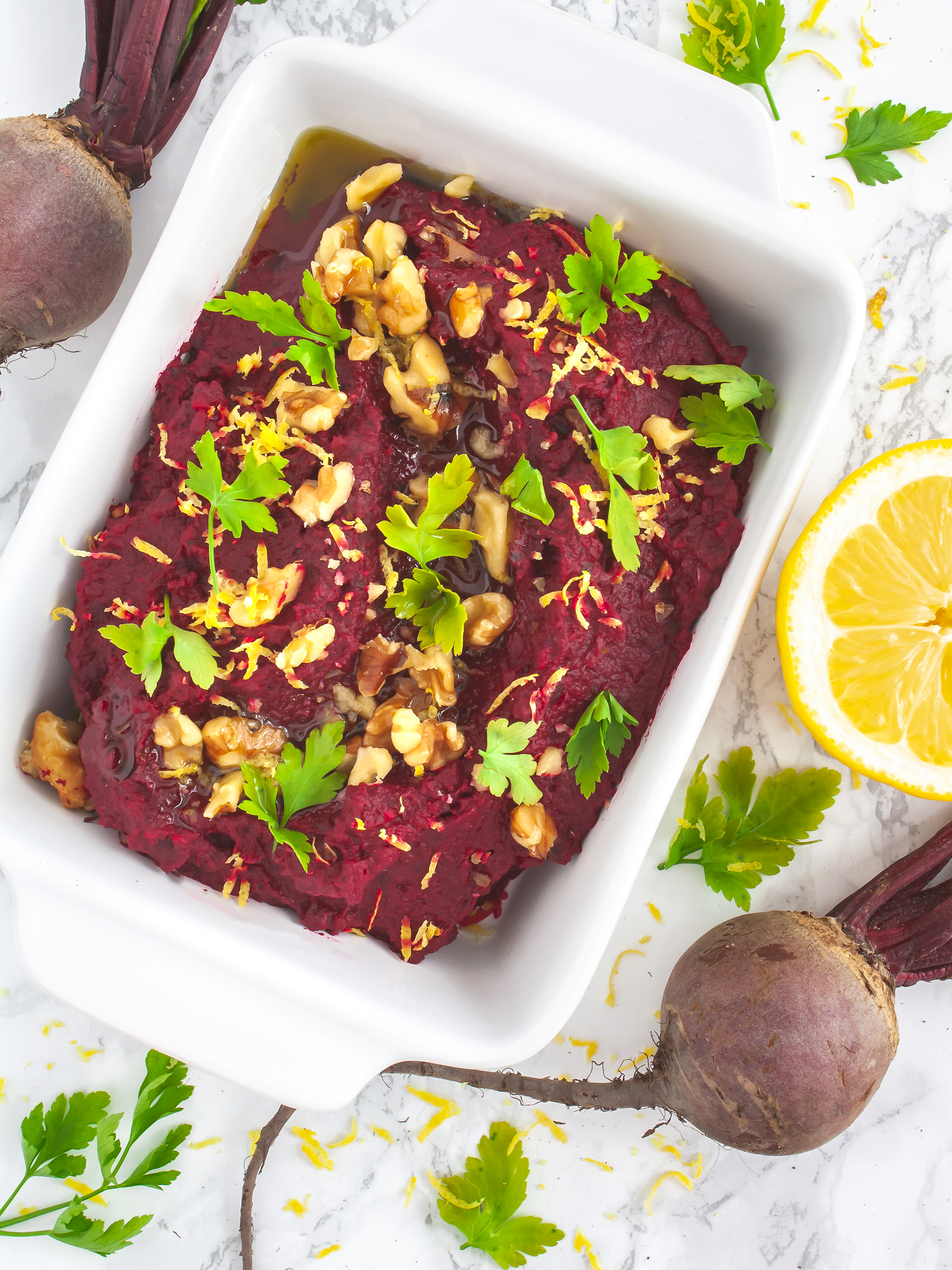 White Beans Beetroot Hummus with Walnuts Thumbnail