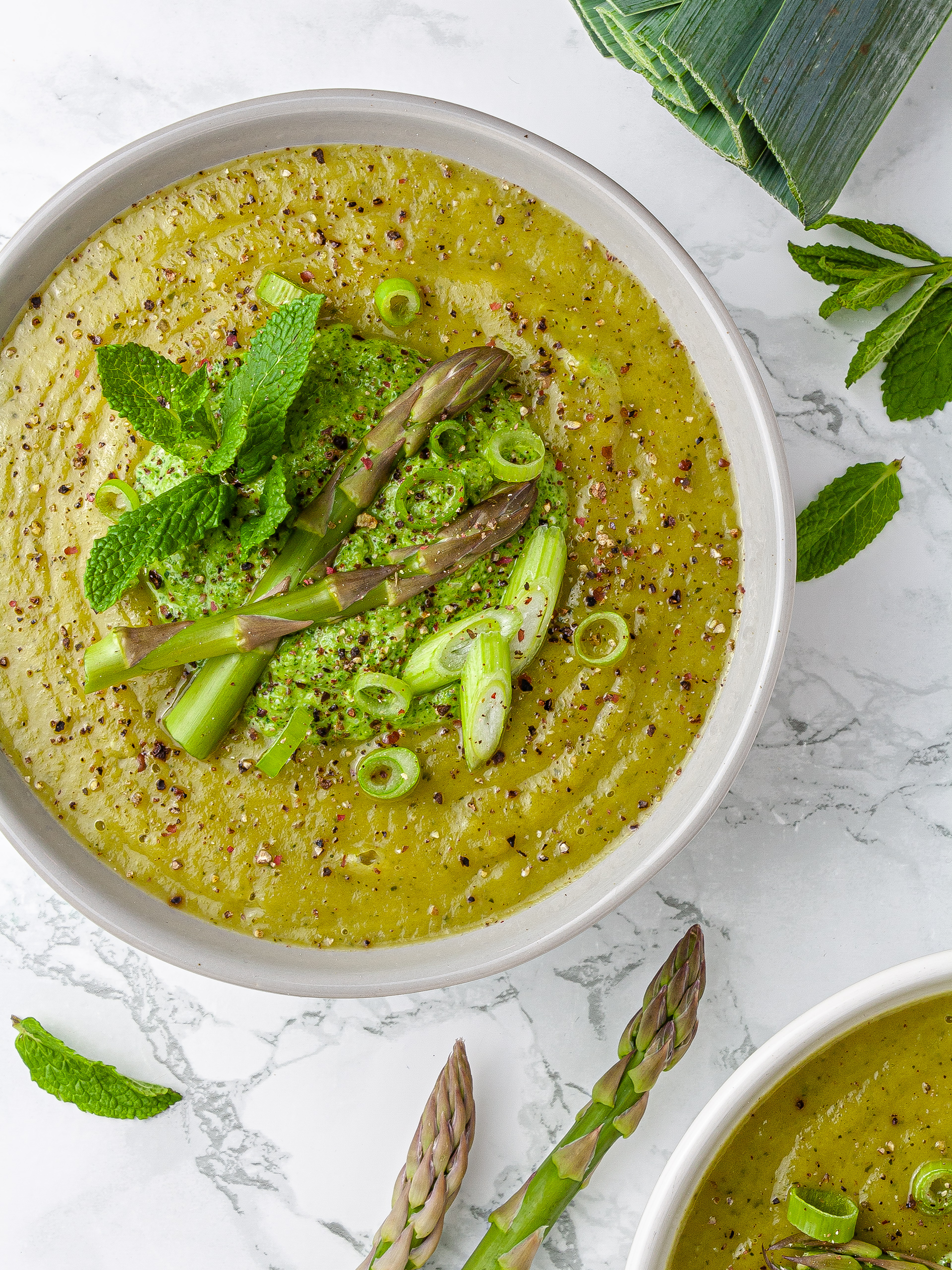 Asparagus and Zucchini Soup with Watercress Pesto Recipe Preview