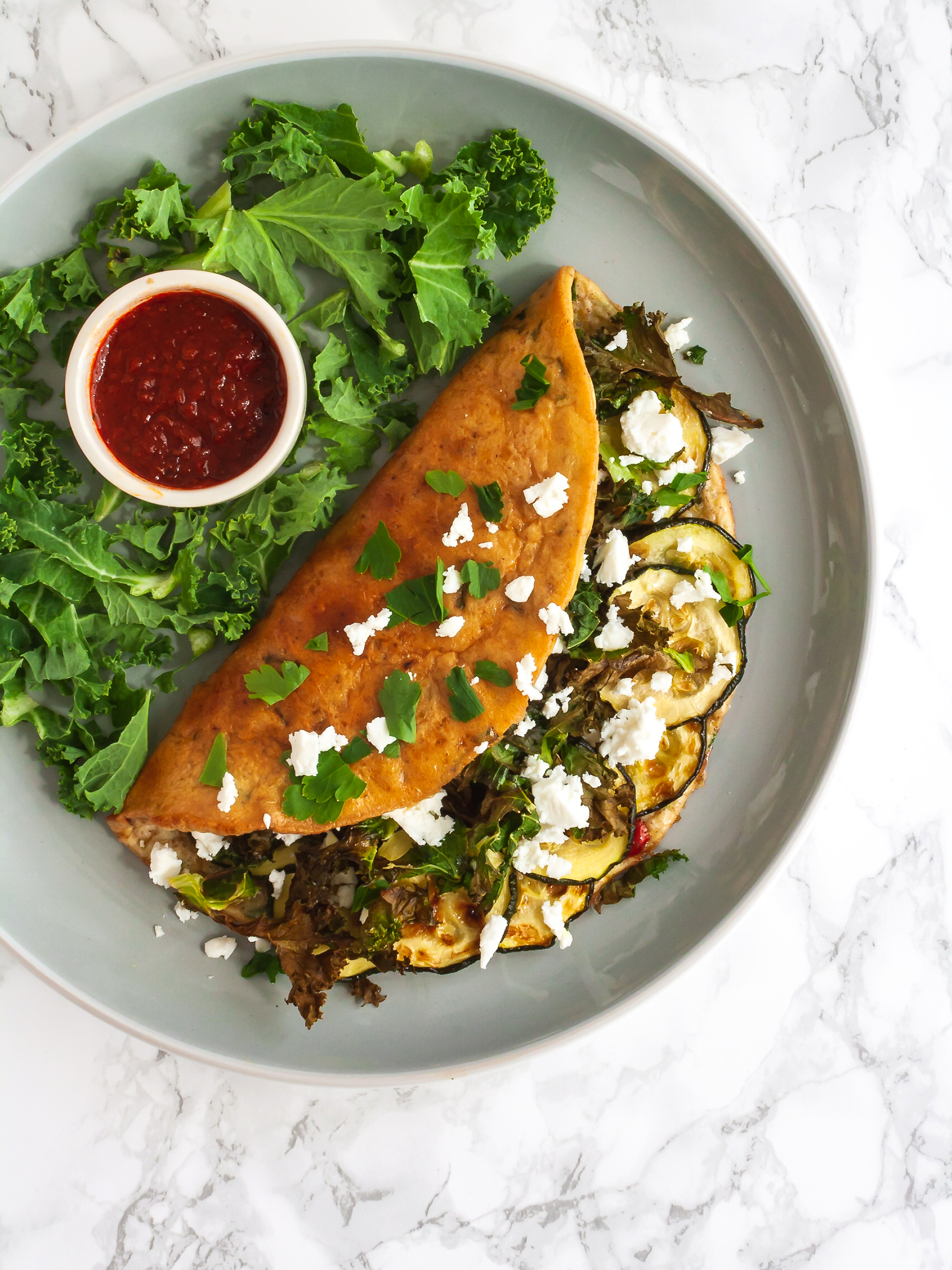 Keto Omelette with Kale Courgettes and Feta Thumbnail
