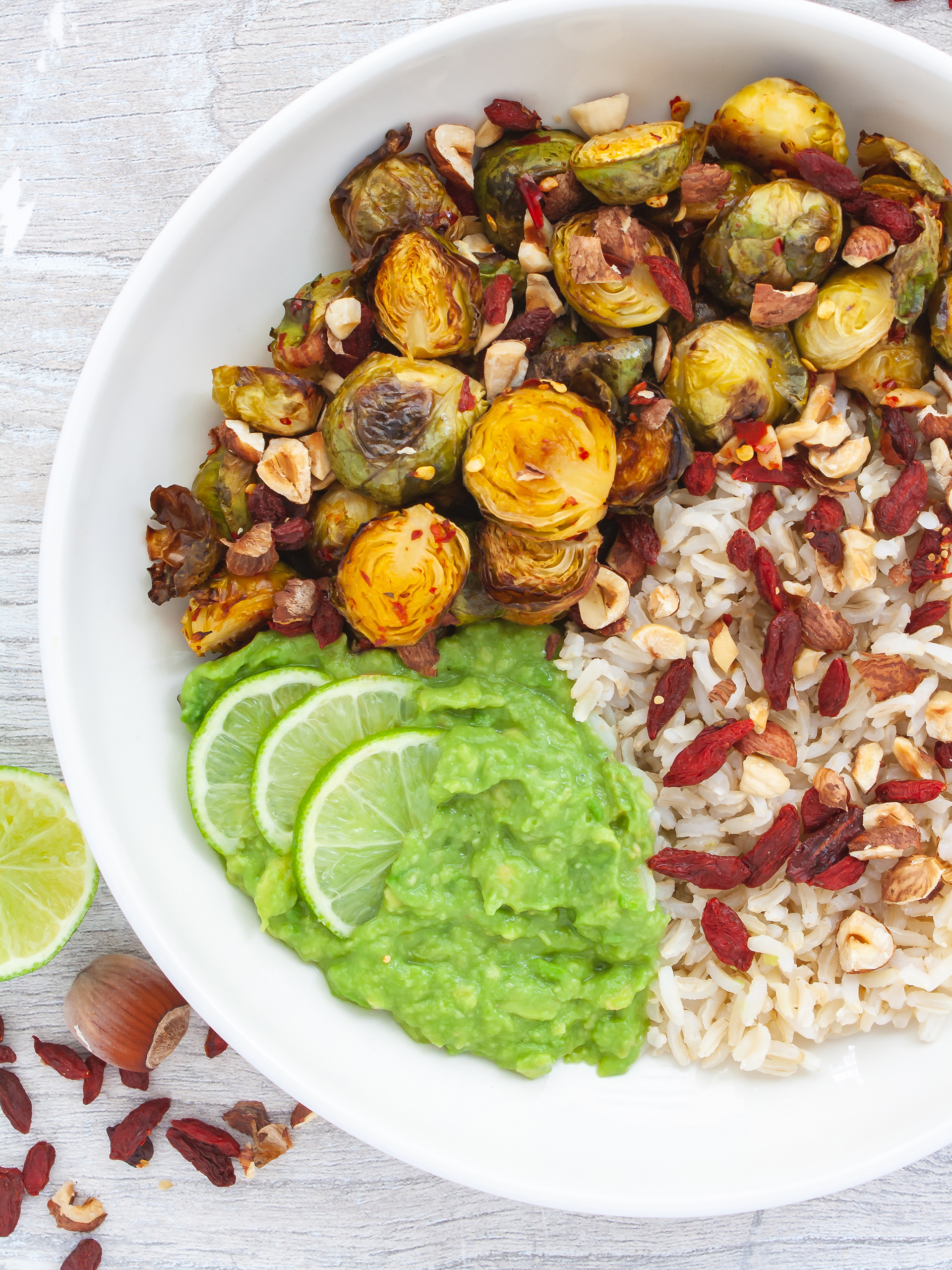 Chili Lime Roasted Brussel Sprouts with Avocado Dressing  Thumbnail