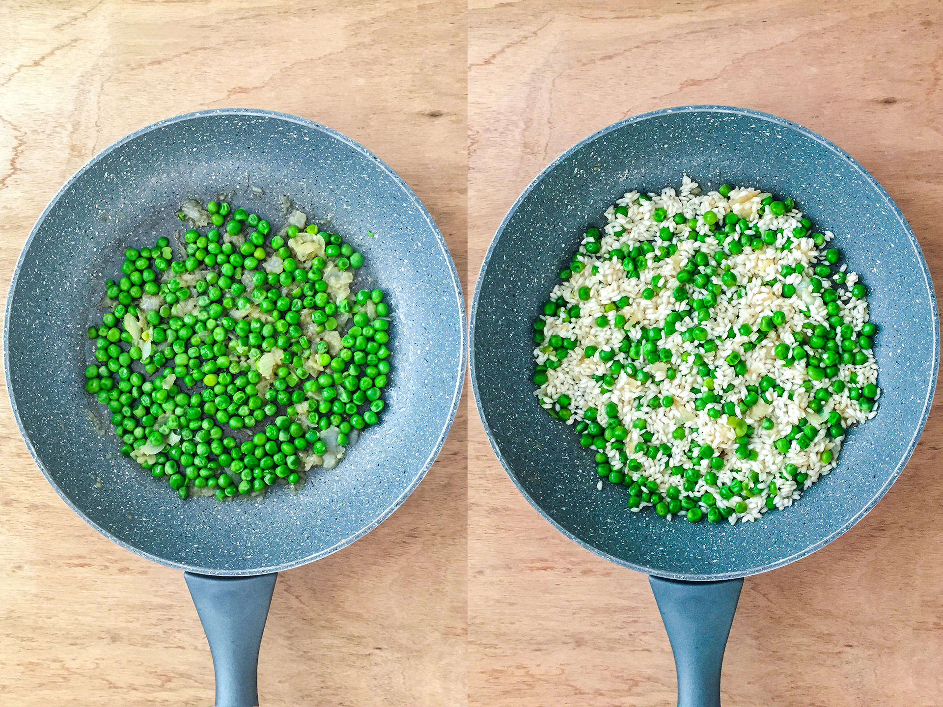 Step 2.1 of Smoked Ham and Peas Risotto Recipe