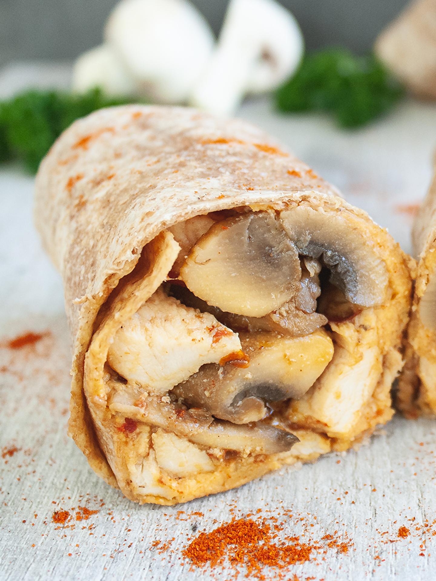 Spicy Chicken and Mushrooms Burrito with Creamy Smoked Paprika Hummus Thumbnail